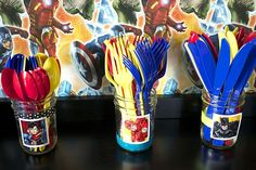 super Hero utensil holders use superhero stickers.for décor Avengers Birthday, Superhero Birthday Party, 6th Birthday Parties, Boy Birthday, Super Hero Birthday, Birthday Ideas, Fete Vincent, Superman Party, Superhero Baby Shower