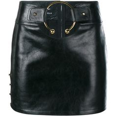 Anthony Vaccarello Leather Mini Skirt With Gold Ring ($1,915) ❤ liked on Polyvore featuring skirts, mini skirts, anthony vaccarello, short leather skirt, leather miniskirt, short skirts and mini skirt