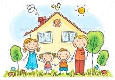 Buy Family with Two Children Near Their House by katya_dav on GraphicRiver. Family with two children near their house, cartoon graphics, vector illustration Art Drawings For Kids, Drawing For Kids, Easy Drawings, Art For Kids, Cartoon Cartoon, Cartoon Familie, Family Clipart, Family Drawing, Family Illustration