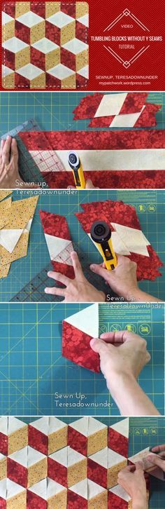 Video tutorial: tumbling blocks with no Y seams - - Video tutorial: tumbling blocks with no Y seams Patchwork you tube Video-Tutorial: Keine Y-Nähte Taumelblöcke – einfaches Quilten Tumbling Blocks Quilt, Quilt Blocks Easy, Easy Quilt Patterns, Patchwork Patterns, Easy Quilts, Pattern Blocks, Sewing Patterns, Hexagon Patchwork, Patchwork Quilting