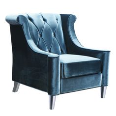 Tufted back seating adds a rich touch to this high back, blue velvet, transitional chair. Made with blue velvet, crystal buttons & chrome legs Dimensions: 38W, 35D, 38H