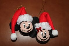 Shirley's Mickey & Minnie Mouse painted on a couple burnt out lightbulbs.  Ear's & santa hat I made from felt.