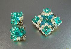 Vintage Germany Rhinestone Brooch Earrings Set by LynnHislopJewels