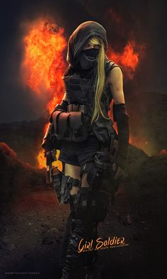 This time I will go to show you how to create dark tone poster photo manipulation effect featuring a girl soldier standing in   front of the explosion using Adobe Photoshop CC 2017