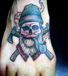 Cold Man Smoking A Pipe Tattoo On Foot For Men