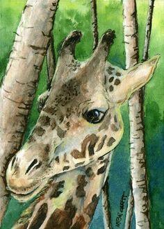 ACEO Original Painting Giraffe animals wildlife Africa tall zoo endangered #Impressionism
