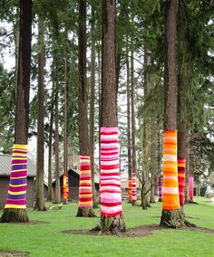 fuckyeahcraft:  Yarn Bombed (by RhubarbPatch) Some lovely cheerful yarn bombing!