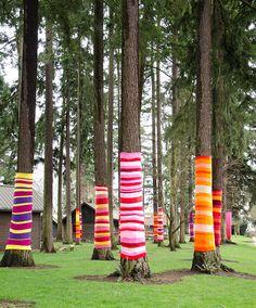 fuckyeahcraft:  Yarn Bombed (by RhubarbPatch) Some lovely cheerful yarn bombing!