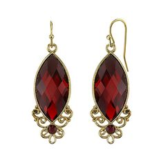 Red Bouquet Gold-Tone Red Navette Drop Earrings