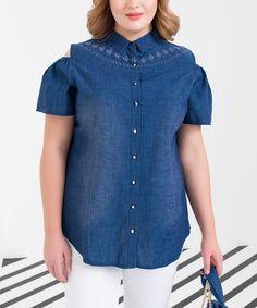 Blue Denim Cutout Button-Up Top - Plus