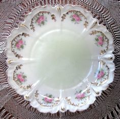 RS Prussia Plate Rose Gold Scalloped Edge Antique 1900. $75.00, via Etsy.