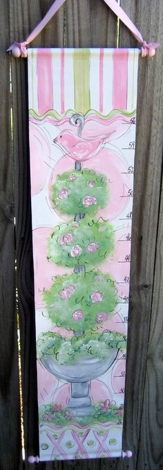 Hand Painted Canvas Growth Chart Topiary. $59.99, via Etsy.