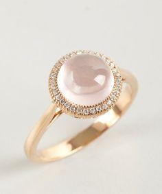 style #323627701 rose quartz and diamond round face ring