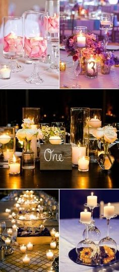 Wedding Ideas: 30 Perfect Ways to Use Candles for Your Big D.- Wedding Ideas: 30 Perfect Ways to Use Candles for Your Big Day creative diy wedding centerpieces with candles - Floating Candle Centerpieces, Diy Centerpieces, Sunflower Centerpieces, Centerpieces With Wine Glasses, Picture Wedding Centerpieces, Inexpensive Wedding Centerpieces, Floating Candles Wedding, Quinceanera Centerpieces, Wedding Centrepieces