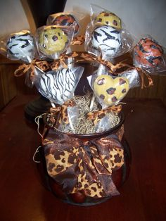 Animal print cake pop arrangement by owner/designer Amy Valencia of Sinfully Sifted Sweets in England, Arkansas. 10th Birthday, Birthday Cards, Favours, Arkansas, Cake Pops, Valencia, Cake Ideas, Party Themes, Wedding Cakes