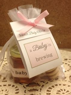 a baby is brewing tea & honey favor baby shower gift by holyhoney