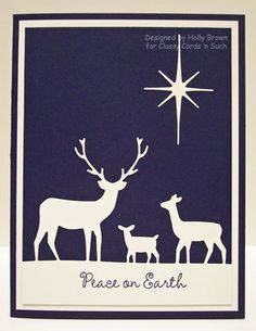 Classy Cards n Such: Peaceful Deer & Black Friday winner! Simple Christmas Cards, Homemade Christmas Cards, Christmas Deer, Xmas Cards, Homemade Cards, Handmade Christmas, Christmas Lights, Green Christmas, Memory Box Cards