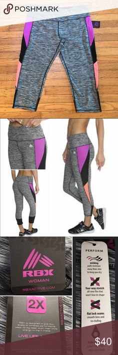 "🆕 NWT Color Spliced Printed Capri 2X Active Women's Contrast Color Spliced Printed Capri Leggings. Add some style to your workouts with these striated stripe colorblocked leggings. Stretch jersey fabric allows you to maintain full range of motion during the peak of your workout. Forget about chafing, flat-lock stitching reduces the irritation. Store your key in the pocket inside the waistband and you're set to go.  Measurements (flat): Waist-18"" / inseam-22""  🆕 NWT RBX Pants Capris"