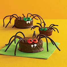 Scary Spiders Recipe | MyRecipes  These easy spiders make a hauntingly fun Halloween treat!