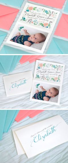 Girl birth announcement baby watercolor girl flowers coral pink tiffany blue calligraphy paint