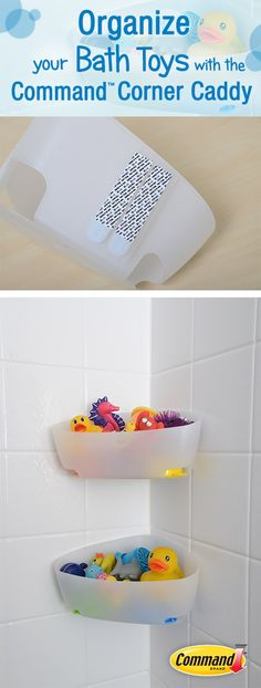 Organize your bath toys with the command™ corner caddy bath toy storage, storage caddy Bath Toy Storage, Storage Caddy, Bath Caddy, Kids Storage, Bathroom Cleaning, Bathroom Organization, Organization Hacks, Bathroom Ideas, Modern Shelving