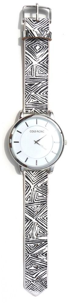Cold Picnic — Leather Etched Diamond Print Watch