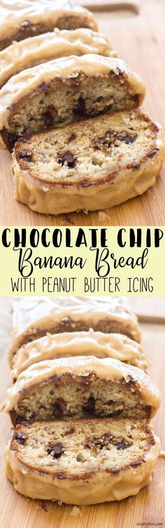 This classic banana bread is filled with sweet chocolate chips and topped with the best peanut butter icing! The peanut butter glaze and the melty chocolate chips make this Chocolate Chip Banana Bread recipe absolutely to die for! You're sure to love this quick and easy snack or dessert! | Posted By: DebbieNet.com