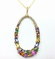 EFFY Watercolors Diamond Multi-Color Sapphire Gemstone 14k Gold Pendant Necklace #Effy #PendantandChainNecklace