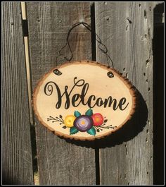Welcome door hanger-Sliced Tree Trunk Sign by CraftingWithMama