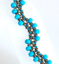 Seed Bead Bracelet in Turquoise Blue and by KKbraceletsandmore