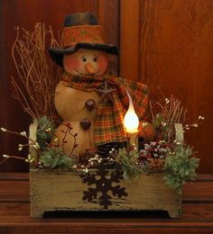 HANDMADE PRIMITIVE SNOWMAN DOLL LIGHTED WOOD BOX CANDLE LAMP FOLK ART #NaivePrimitive