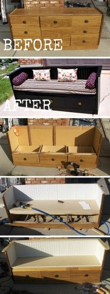 Dresser to Bench Project with Storage Drawers