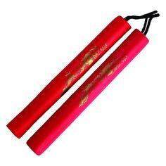 Set of 2 Half Black Red Dragon Self Defense Foam Metal Chain Nunchaku Nunchucks