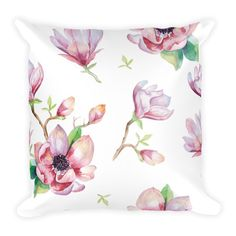 Square Pillow – Magnolia This soft pillow is an excellent addition that gives character to any space. It comes with a soft polyester insert that will retain its shape after many uses, and the pillow case can be easily machine washed. Pink Throw Pillows, Soft Pillows, Designer Throw Pillows, Spice Things Up, Things To Come, Classic Beauty, Magnolia, Hand Sewing, Pillow Cases