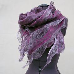 Nuno felted scarf - made of pure silk gauze, merino wool, silk fiber