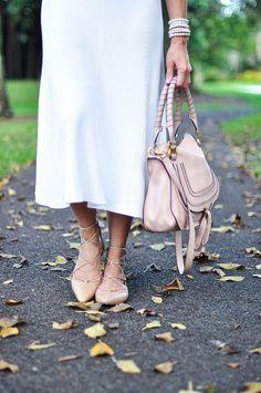 Zara lace up flats and Chloe Marcie bag