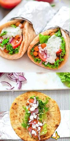 Vegetarian Gyro These Vegetarian Gyros make a quick and unbelievably tasty version of the popular Greek sandwich. Even meat-lovers will enjoy them! FOLLOW Cooktoria for more deliciousness! #gyro #sandwich #vegetarian #lunch #dinner #chickpeas #cooktoria<br> Vegetarian Dishes Healthy, Vegetarian Breakfast Recipes, Healthy Meal Prep, Vegetarian Lunch, Easy Dinner Recipes, Meat Recipes, Healthy Dinner Recipes, Indian Food Recipes, Healthy Eating