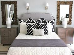 Elegant Twin Size Beds Under Cool Wall Lamps And Beautiful Wall Mirror Using…