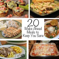 20 Make Ahead Meals to Keep You Sane It's that busy time of year with sport practicing and games, piano lessons, dance practice, and church activities almost every night each week. Plan Ahead Meals, Make Ahead Freezer Meals, Quick Meals, Freezer Cooking, Simple Meals, Easy Dinners, Slow Cooker Recipes, Crockpot Recipes, Cooking Recipes