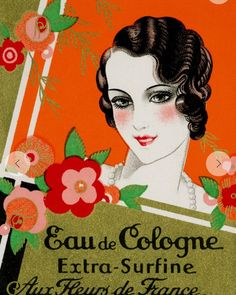 """Michelle Turner on Instagram: """"Beautiful graphics from 1925 cologne box. #1925 #1920sperfume #1920sgraphics"""" Art Vintage, Vintage Ads, Vintage Images, Vintage Posters, French Posters, Vintage Makeup, Vintage Vanity, Vintage Beauty, Vintage Paper"""