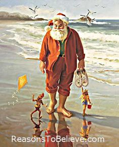 A Day at the Beach | Santa Claus Figurines and Hand Carved Wooden Santas Nautical Christmas, Beach Christmas, Noel Christmas, Father Christmas, Vintage Christmas Cards, Christmas Pictures, Christmas Ideas, Christmas Decor, Aussie Christmas
