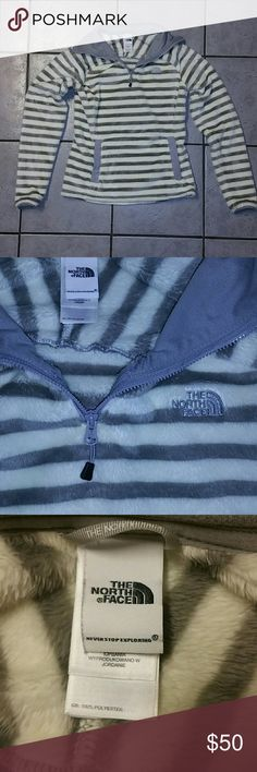 The North Face Pullover The North Face Striped Pullover -quarter zip -pocket in front, 100% Polyester  Colors: Off-White & Gray Striped Size: XSmall  --Like New Condition, worn once-- The North Face Tops Sweatshirts & Hoodies