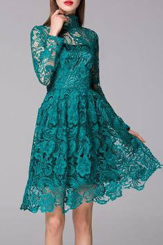 Blueoxy Green See Through Lace Dress | Knee Length Dresses at DEZZAL