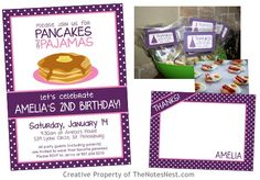 Pancakes & Pajamas Party! (Please visit The Notes Nest on Etsy for an updated version of this invitation!)