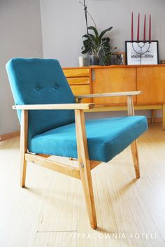 Blue Armchair PRL Design Blue Armchair, Upcycle, Accent Chairs, Upholstery, Interiors, Living Room, Diy, House, Furniture