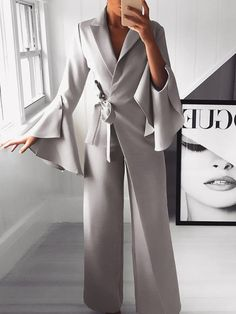 Irregular Flared Sleeve Knot Side Wide Leg Jumpsuit fashion dresses pictures summer outfits style dress for girl,work dresses outfit ideas,party dresses Bell Sleeve Shirt, Bell Sleeves, Jumpsuit With Sleeves, Bodycon Jumpsuit, Cotton Jumpsuit, Jumpsuit Outfit, Casual Jumpsuit, Ladies Jumpsuit, Romper Outfit
