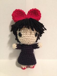 Kiki Doll with Bow (from Kiki's Delivery Service) Free Amigurumi Pattern