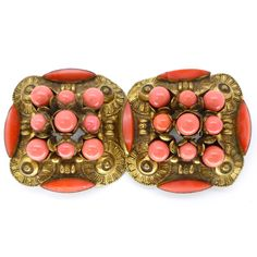 Vintage Art Deco Czech Coral Glass Ornate Gold Tone Buckle | Clarice Jewellery | Vintage Costume Jewellery