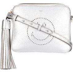Anya Hindmarch smiley cross-body bag (1,143 CAD) ❤ liked on Polyvore featuring bags, handbags, shoulder bags, grey, gray purse, metallic purse, anya hindmarch handbags, cross-body handbag and anya hindmarch crossbody