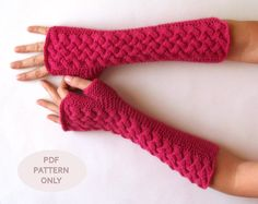 Cable Fingerless Gloves Knit Pattern Arm Warmers Pattern